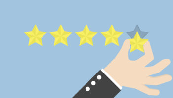 Businessman hand giving five star rating, Feedback concept, VECTOR, EPS10